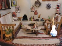 The Southwestern Room ~ Sofa, chair and rug came with the roombox