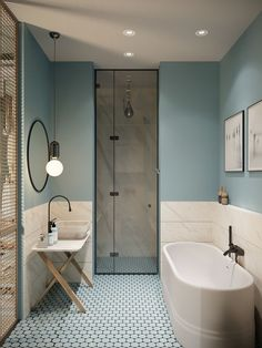 Gorgeous 78 Light Blue Bathroom Color Decorating Ideas 28 Bathroom Lighting Ideas to Brighten Your Style Design # Beautiful Bathrooms, Modern Bathroom, Bathroom Vintage, Minimalist Bathroom, Bathroom Grey, Shower Bathroom, Light Bathroom, Shower Door, Duck Egg Blue Bathroom Tiles