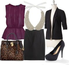 work outfit,burgundy top, black skirt, black 3/4 sleeve jacket, leopard purse, black shoes, pearl tie- on collar.