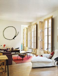 A light-filled Barcelona flat -shutters House, Interior, Home, Shutters Inside, Interior Spaces, House Interior, Home Deco, Interior Design, Home And Living
