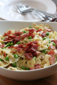 Pasta with Bacon, Peas and Cream. Dinner tonight. I subbed half and half for cream and cougar gold for Parmesan. It was Amazing! I can't make this too often or I'll be in big trouble!