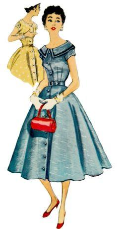 jaren 1950 vintage dag jurk patroon eenvoud 1031 1954 jurk patroon Rockabilly jurk patroon Vintage naaien ONBESNEDEN, fabriek-gevouwen buste 34