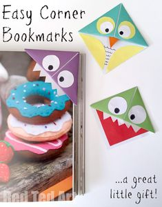 DIY Easy Corner Bookmarks - owl and monsters