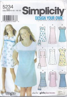 986c59634af Pullover Dress Jumper Sleeveless Short Long Sleeves Girls Plus Size 8 1 2  10 1 2 12 1 2 14 1 2 16 1 2 Sewing Pattern 2004 Simplicity 5234