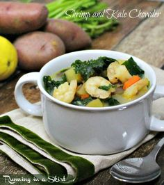Shrimp Chowder Recipe | Running in a Skirt Shrimp and Kale Chowder that is healthy, easy and really good! #kale #soup #shrimp #recipe #chowder www.RunninginaSkirt.com