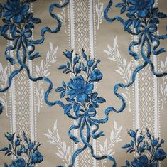 Antique FRENCH WALLPAPER Blue Roses & Ribbons French Wallpaper, Wallpaper Roll, Shabby Chic Guest Room, Shabby Chic Shelves, Lighted Wall Mirror, French Walls, Beige Background, Blue Roses, Vintage Shabby Chic
