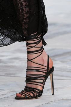 Roberto Cavalli Black Strappy Sandals Spring 2014 RTW #Shoes #Heels #Stilettos