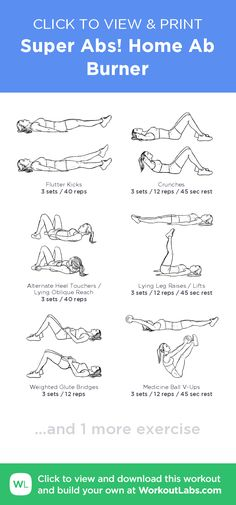 Super Abs! Home Ab Burner – click to view and print this illustrated exercise plan created with #WorkoutLabsFit