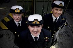 Lieutenants Maxine Stiles, Alex Olsson and Penny Thackray have become the first females to serve in the Royal Navy Submarine Service. Navy Uniforms, Girls Uniforms, Stiles, Royal Navy Uniform, Royal Navy Submarine, Feminist Men, Nuclear Submarine, British Armed Forces, Badass Women