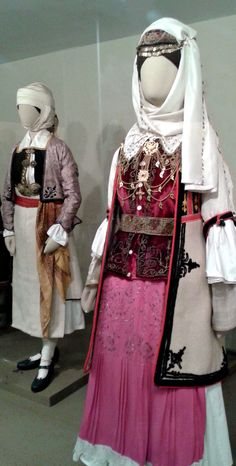 Traditional festive costumes of Pogoni and Deropoli, Epirus, Greece. Greek Traditional Dress, Traditional Outfits, Folk Clothing, Greek Clothing, Dance Costumes, Greek Costumes, Costumes Around The World, Fashion Project, Folk Costume