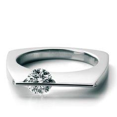 Schaffrath Arcana 18k White Gold and Diamond Square Ring (=)