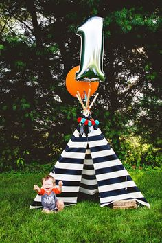 """Mommy, Whitney Beachy, celebrated her little Beau turning one with a creative (and SUPER cute!) """"Beau the Brave"""" First Birthday Party. Inspired by a p"""