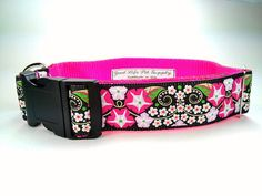 Hot Pink and Black Floral Morning Glory Adjustable Dog Collar by GoodLifePetSupply