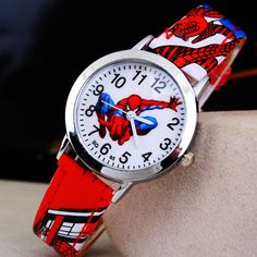 Hot Sale SpiderMan Watch Cute Cartoon Watch Kids Watches Rubber Quartz Watch Gift Children Hour reloj montre relogio //Price: $4.98 & FREE Shipping //