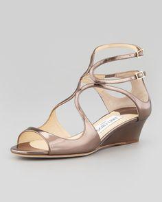 Jimmy Choo Inka Wedge Mirror Sandal, Light Bronze - Neiman Marcus