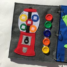 GUMBALL MACHINE PAGE (with buttons): -Practice matching colors with this fun velcro page! -Store the gumball buttons on the velcro along the side of the page so you dont end up with lost pieces. -Large buttons are used to make it easy for little hands. GENERAL INFO: -Each page is 9x11 inches and has 3 button holes that will fit perfectly in any standard 3-ring binder. This makes it so easy to exchange pages in and out. (A customized cover or binder can be purchased from my shop under the…