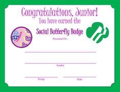 Junior Social Butterfly Badge Certificate