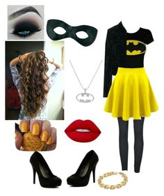 A fashion look from August 2016 by catgirlforever featuring Tomas Maier, Michael Antonio, Calvin Klein, Lime Crime and OPI Girl Superhero Costumes, Super Hero Costumes, Girl Costumes, Cosplay Costumes, Diy Batgirl Costume, Costumes For Teens, Adult Costumes, Costume Halloween, Diy Halloween Costumes