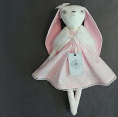 @hoppdolls handmade heirloom doll, bunny doll, fabric doll, white and pink