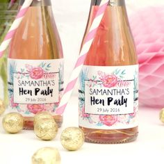 Personalised Floral Hen Party Bottle Labels