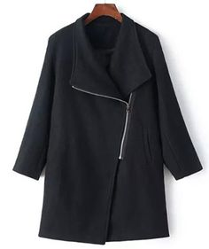 Stylish Turn-Down Collar Long Sleeve Zip Up Loose-Fitting Women's Coat