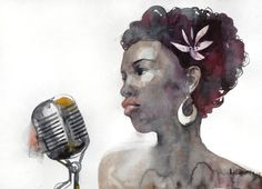 Jazz singer - original watercolor painting. Portrait of an african american woman, unique gift for jazz music lovers. Watercolour picture. by AlisaAdamsoneArt on Etsy