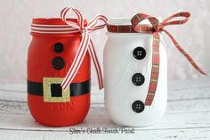 Santa & Mr.Snowman Chalk Painted Mason Jar Set. Christmas decor. by starschalkpaint on Etsy https://www.etsy.com/listing/247093986/santa-mrsnowman-chalk-painted-mason-jar