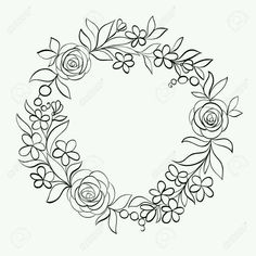 Beautiful monochrome black and white Floral circular frame.- Beautiful monochrome black and white Floral circular frame. Hand-drawn backgroun… Beautiful monochrome black and white Floral circular… - Floral Embroidery Patterns, Hand Embroidery Designs, Ribbon Embroidery, Flower Patterns, Embroidery Stitches, Black E White, Wreath Drawing, Floral Border, How To Draw Hands