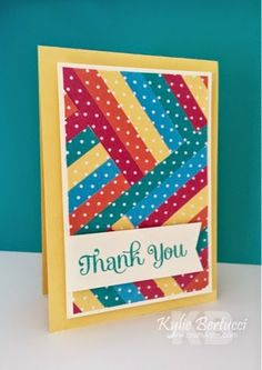 Stampin' Up! ... hand crafted quilt card by Kylie Bertucci  .... herringbone technique using bright and beautiful strips of polka dot papers ...