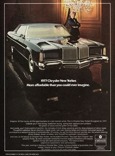 Vintage Cars Classic 1977 Chrysler New Yorker Ad General Lee, 70s Cars, Cars Usa, Rat Rods, Mopar, Jeep, Pub Vintage, Chrysler Cars, Chrysler Lebaron