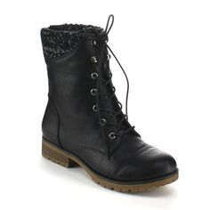 Refresh Women's Sweater Cuff Lace Up Combat Boots *** Check this awesome  image : Snow boots