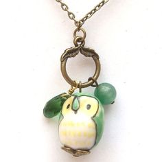Antiqued Brass Green Quartz  Jade Porcelain Owl Necklace.