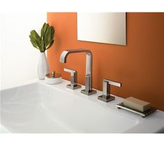 Danze® Sirius™ Trim Line Widespread Lavatory Faucets - Chrome Lavatory Faucet, Bathroom Sink Faucets, Bathroom Fixtures, Vanity Sink, Bathrooms, Funky Bathroom, Bathroom Modern, Bathroom Design Inspiration, Building A New Home
