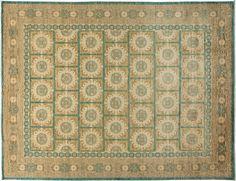 "Khotan, Oriental Rug 9 x 12 Blue Wool Area Rugs - 9' 3"" x 11' 10"" – Solo Rugs"