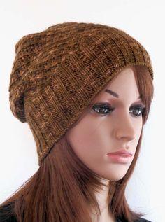 Hand knit slouchy beanie. Merino wool. #knitting #hat #beanie #giftideas #giftforher #fashion #style #shopping #etsyseller