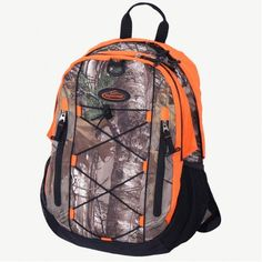Realtree Camo Orange 2-Section Backpack $45  #Realtreecamo #backtoschool