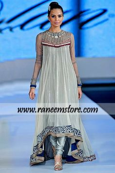 Monia Farooqi evening wear high-low hemline chiffon dress with churidar pants