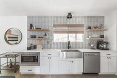 Greyscale Glazed Thin Brick Backsplash   Fireclay Tile Kitchen Backsplash, Kitchen Cabinets, Fireclay Tile, Thin Brick, Brick Texture, Color Tile, Color Inspiration, Contemporary, Glazed Brick