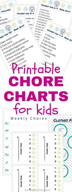 Free printable Chore charts for kids. Keep kids organized and on task with a list of chores for every age. Print the chart and the chore reward cards and use them to help kids learn responsibility for helping out around the house. #chores #choresForKids #ChoreCharts