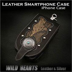Leather iPhone Case Smartphone Case Cellphone Case WILD HEARTS Leather&Silver http://item.rakuten.co.jp/auc-wildhearts/cc1330r20/