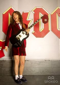 Angus Young of AC/DC on the set of the Heatseeker Video promo shoot