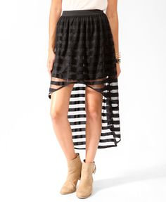 Striped High-Low Skirt | FOREVER21 - 2025101685