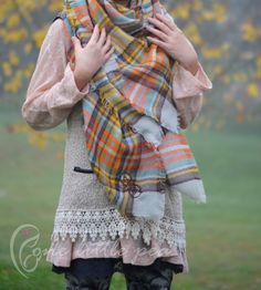 ♥♥♥ Tartan plaid blanket scarf}♥♥♥ – in Color #18 Yellow/Cream/Orange Plaid or select your color  Cuddle up in super soft and warm oversized scarf.