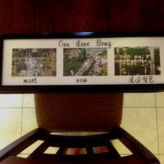 """First wedding anniversary present to my husband- """"paper"""" pictures of where we met, married, and live. All the ingredients to a great love song."""