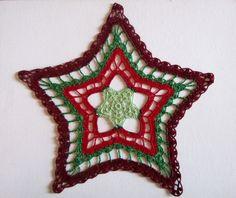 Crochet Doily Christmas Star - Christmas decor - Green Red and Burgundy - Christmas Gift - Homemaker gift - Hostess gift - Heirloom by ElenisCrochet on Etsy
