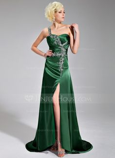 A-Line/Princess One-Shoulder Sweep Train Charmeuse Prom Dress With Ruffle Beading