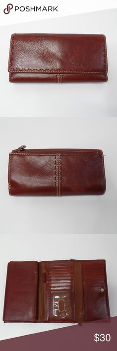 """FOSSIL Brown Leather Wallet FOSSIL Wallet Genuine Leather Brown Tri Fold Check Book in Excellent Condition!  Fossil Brand. Beautiful brown leather.   - tri fold - snap closer - zipper coin holder - check book holder  In excellent condition!!!  Length: 7"""" Height: 4""""  Please message me with any questions.  Check out my other items! Fossil Bags Wallets"""