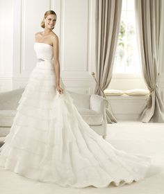 Love this ruffled a-line wedding dress by Pronovias maybe a dip in the top for the sweetheart neckline