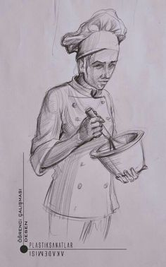 Cook fictional drawing of GSF preparation. Human Figure Sketches, Human Sketch, Human Figure Drawing, Figure Sketching, Art Drawings For Kids, Pencil Art Drawings, Drawing Sketches, Perspective Drawing Lessons, Stippling Art