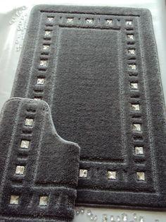 Bath mat set diamante jet black Bathroom Bath mat sets